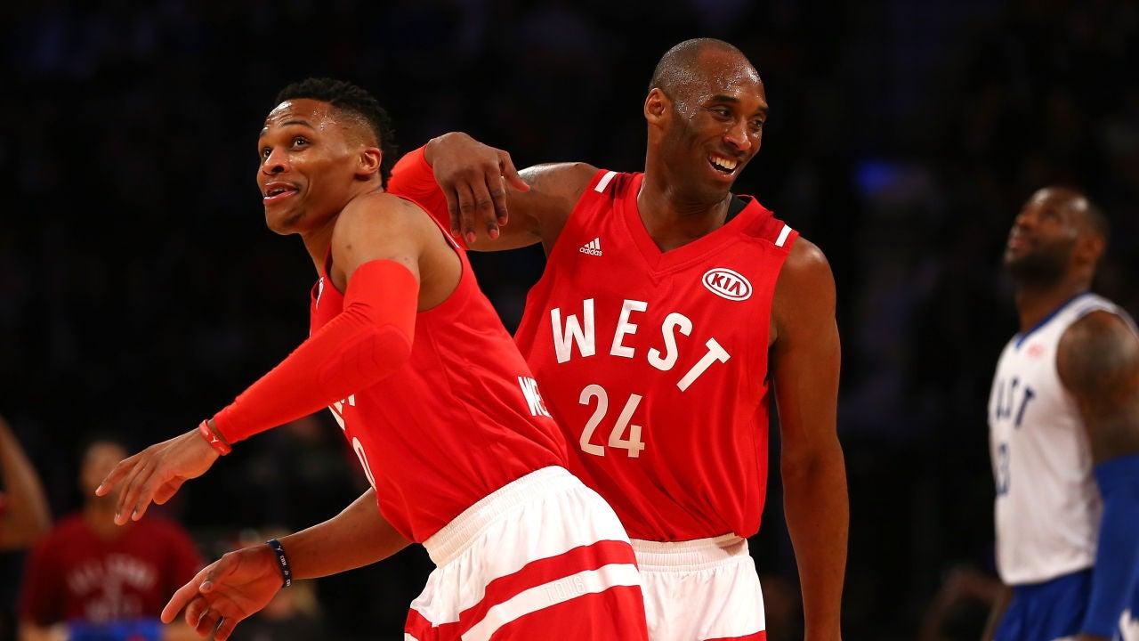 Russell Westbrook, junto a Kobe Bryant durante el All-Star Game de 2016
