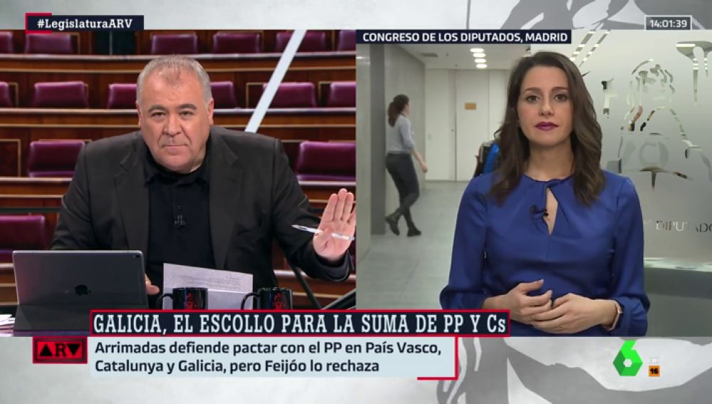 Arrimadas condiciona el pacto con el PP a que se realice en Galicia, País Vasco y Cataluña