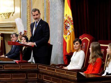 El rey Felipe VI, durante su discurso en la apertura solemne de la legislatura