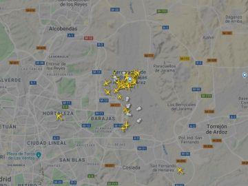 Mapa de los vuelos en Madrid-Barajas