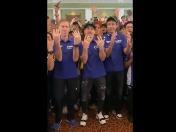 El equipo oficial de Yamaha en un evento promocional