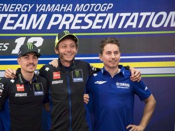 Jorge Lorenzo en la presentación de Yamaha junto a Rossi y Viñales