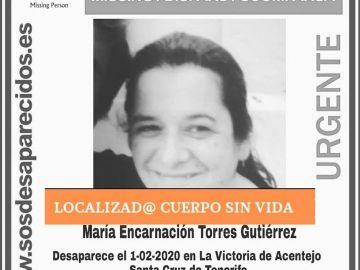 El anuncio de SOS Desaparecidos sobre el fallecimiento de María Encarnación Torres
