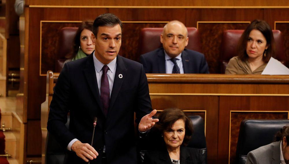 Pedro Sánchez interviniendo durante la primera sesión de control al Gobierno