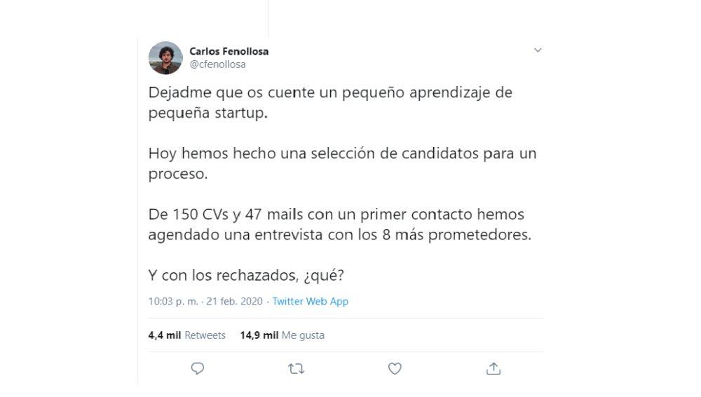 El tuit viral del bonito gesto de Carlos Fenollosa con los candidatos rechazados
