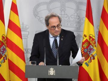 El president de Cataluña Quim Torra durante la rueda de prensa