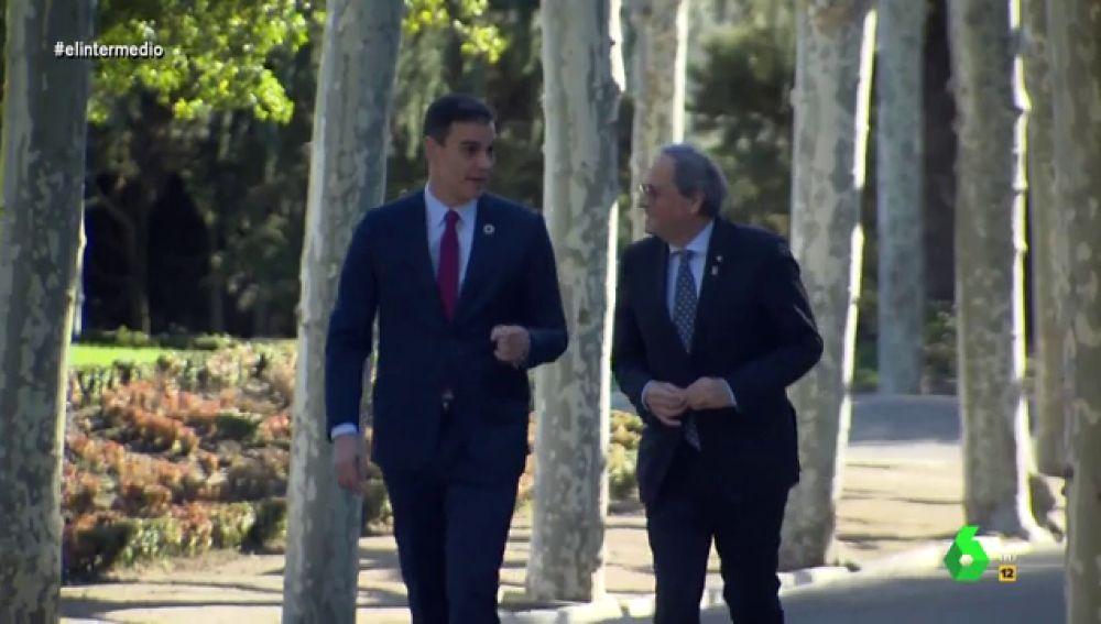 """Así ha sido el momento íntimo entre Pedro Sánchez y Quim Torra paseando por Moncloa que se ha """"salido de madre"""""""