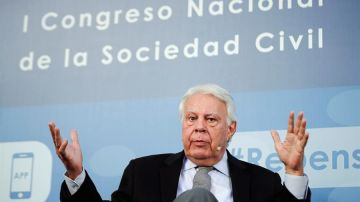 """El expresidente, Felipe González , durante el Congreso """"Repensar España: una aportación desde la Sociedad Civil"""""""