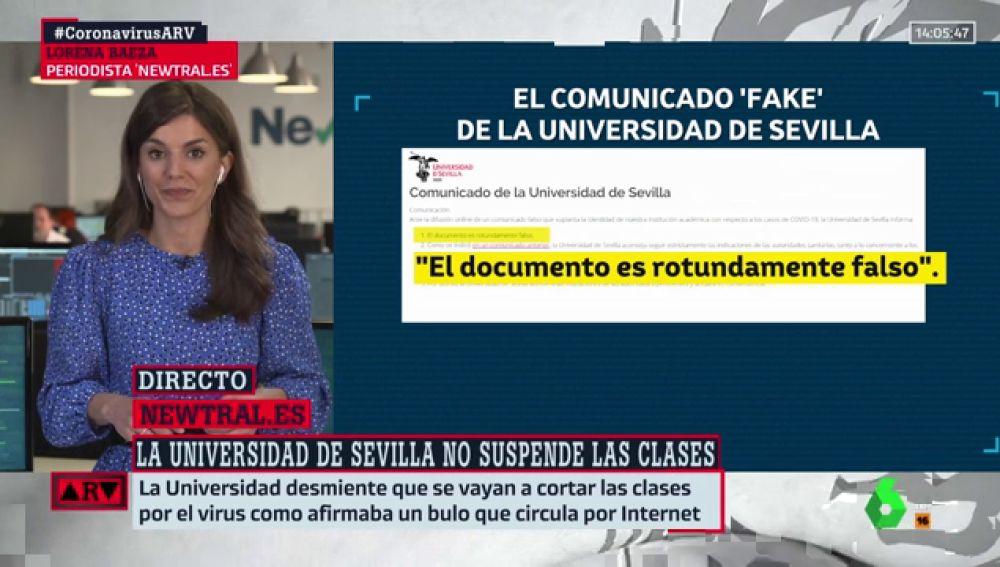 No, la Universidad de Sevilla no ha suspendido las clases por el coronavirus