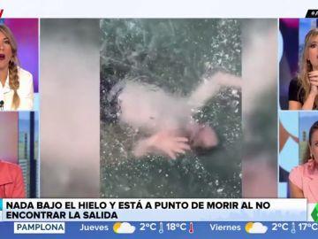 Un joven, a punto de morir ahogado al nadar bajo el hielo y no encontrar la salida