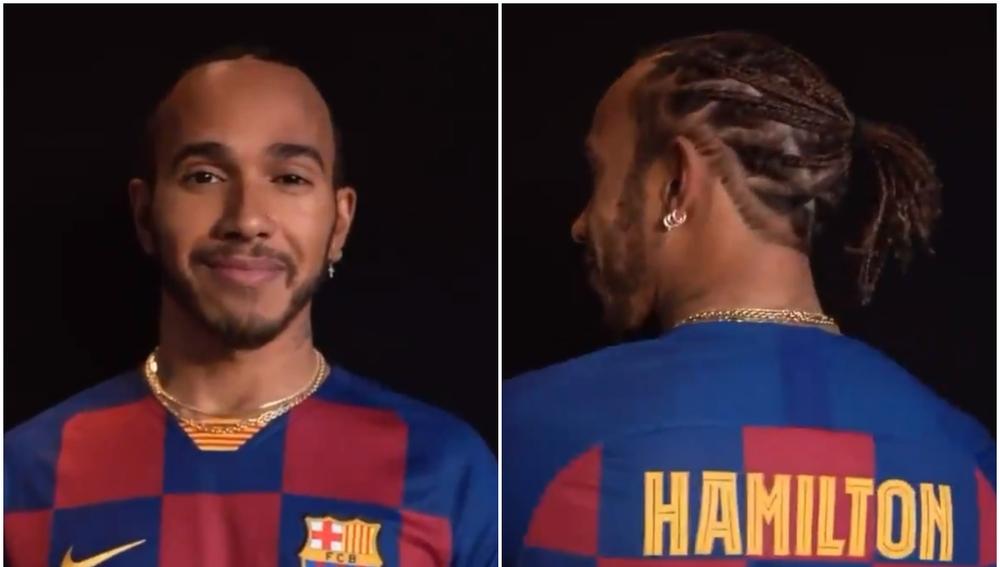 Lewis Hamilton, con la camiseta del Barcelona