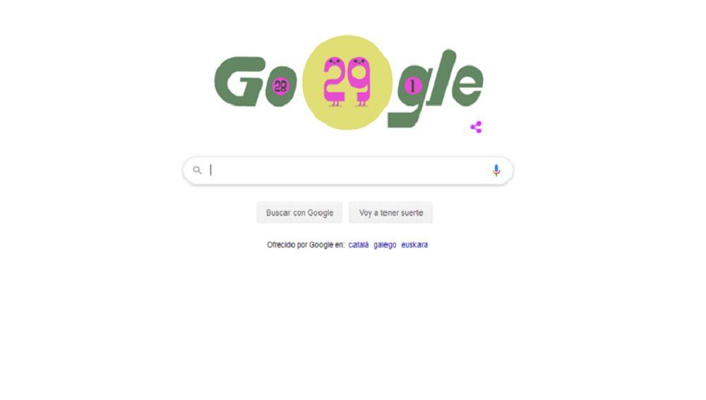 Doodle de Google del 29 de febrero.