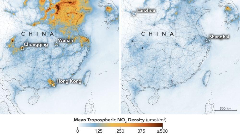 Niveles de dióxido de nitrógeno en China entre el 1-20 de enero y el 10-25 de febrero