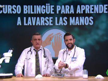 """""""Le fiesté de le espumé"""": el curso 'bilingüe' del 'doctor' Wyoming y Dani Mateo para lavarse las manos y evitar el coronavirus"""