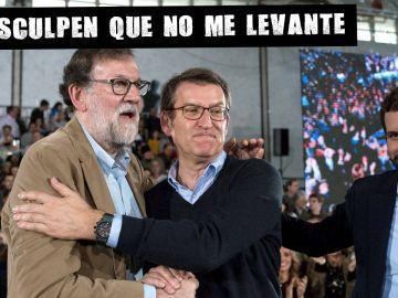 Nuñez Feijóo con Rajoy y Casado en un mitin en Orense