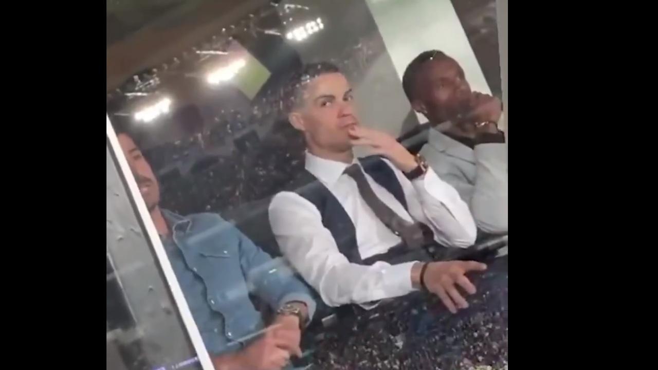 Cristiano Ronaldo, en el palco del Santiago Bernabéu
