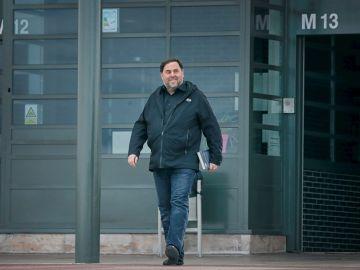 El líder de ERC, Oriol Junqueras, a su salida de prisión