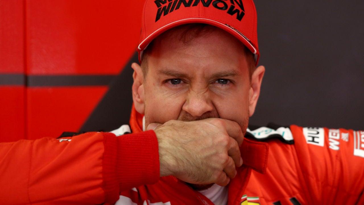 Sebastian Vettel durante los test de Montmeló