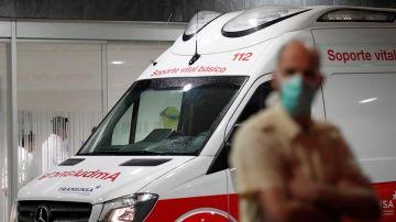 Llegada en ambulancia al Hospital Universitario Central de Asturias