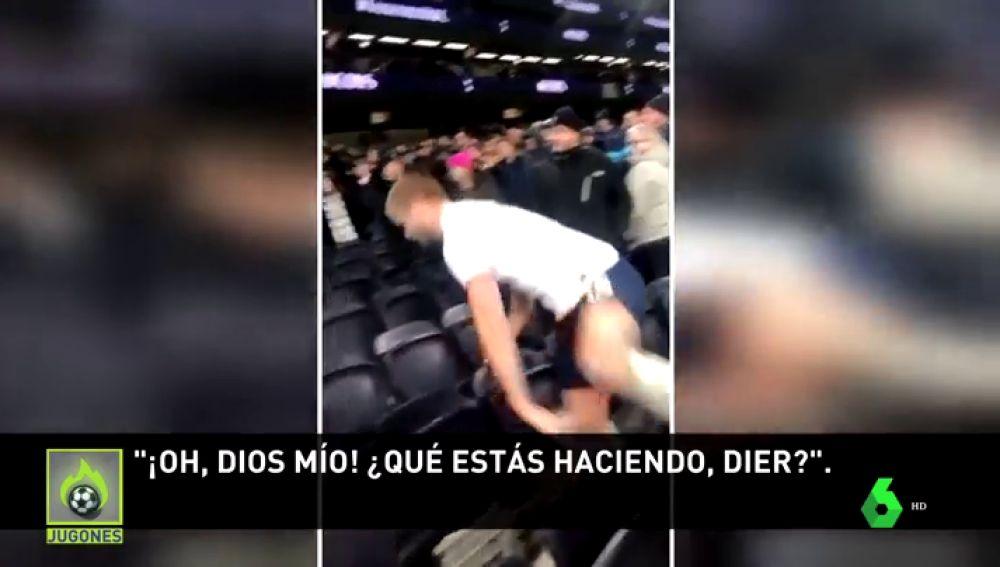 Un jugador del Tottenham salta a la grada y se lía a puñetazos para defender a su hermano menor