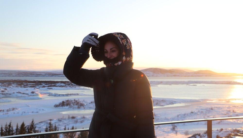 Ana Millán, bien abrigada en Islandia