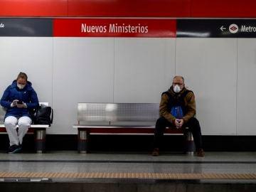 La estación de Nuevos Ministerios, en Madrid, en plena crisis por el coronavirus