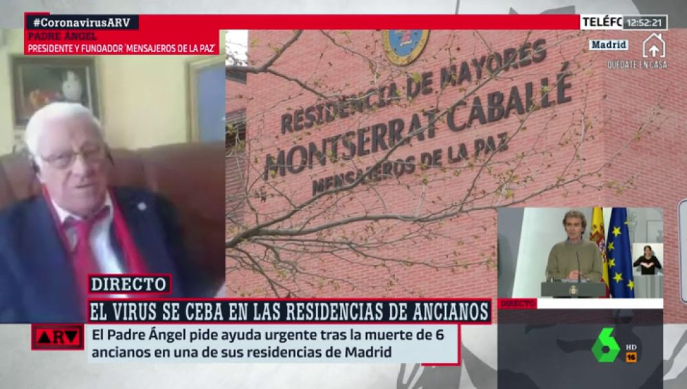 """Padre Ángel: """"Las residencias están llenas de héroes, pero necesitamos más profesionales y material sanitario"""""""