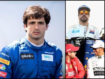 Carlos Sainz, Fernando Alonso, Sebastian Vettel y Lewis Hamilton