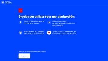 Interfaz de la app de autoevaluación del coronavirus de la Comunidad de Madrid