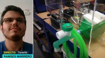 Imagen de un respirador artificial hecho con una impresora 3D