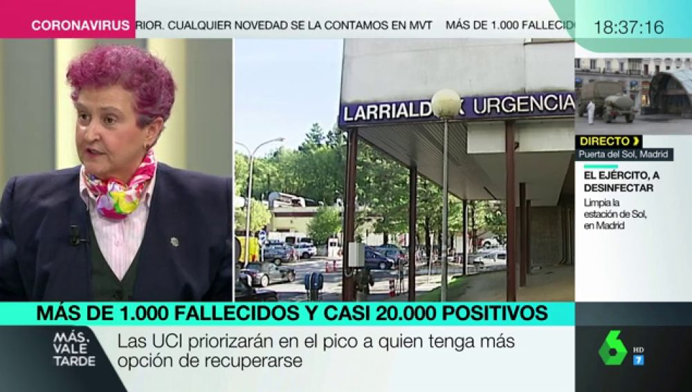 """María Sainz, médica: """"El triaje se da en situaciones muy excepcionales, de explosión, y ahora empezamos a temblar"""""""