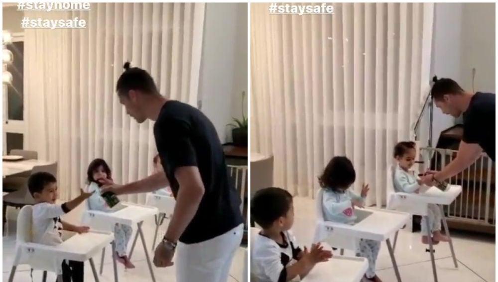 Cristiano Ronaldo, con sus hijos