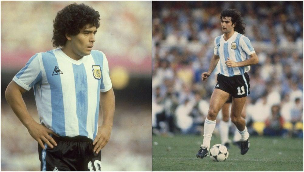 Maradona y Kempes con la selección argentina