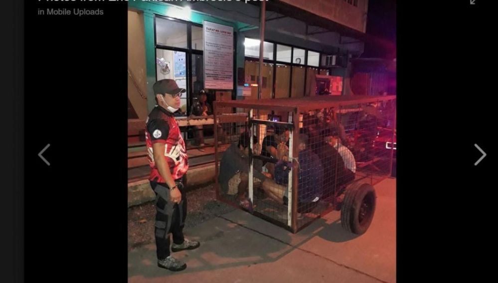 Personas confinadas en jaulas por violar la cuarentena en Filipinas