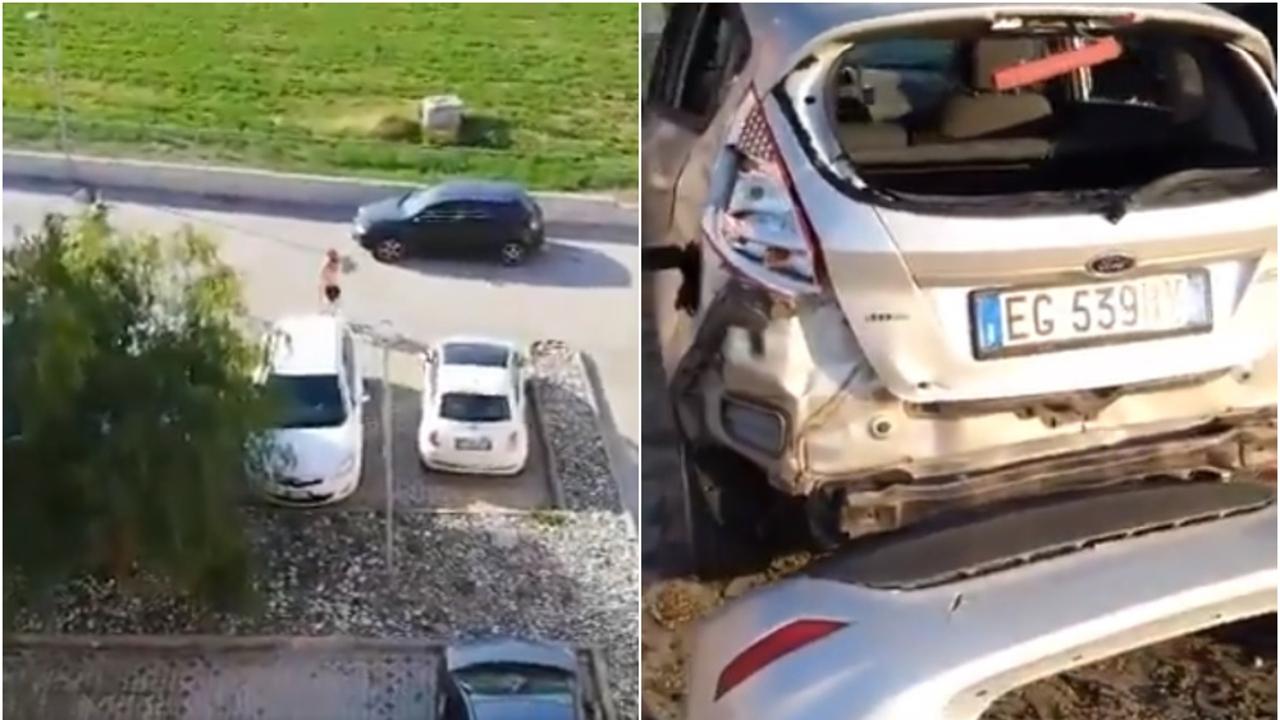 Un 'runner' destroza un coche a martillazos