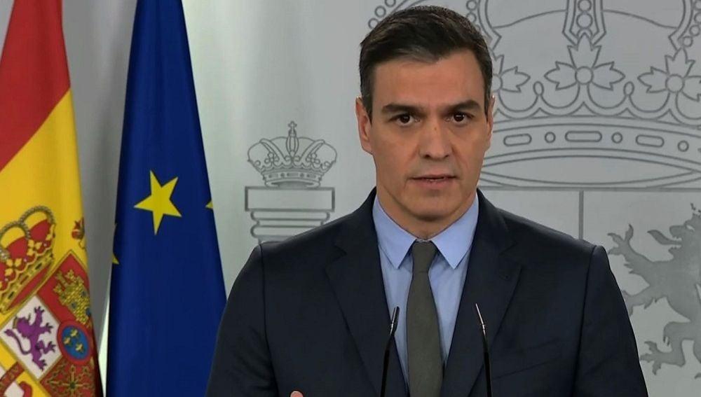 Pedro Sánchez durante su comparecencia desde la Moncloa