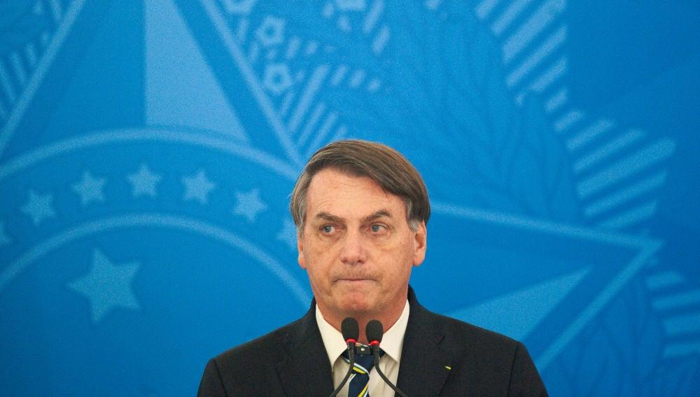 Jair Bolsonaro, durante una comparecencia