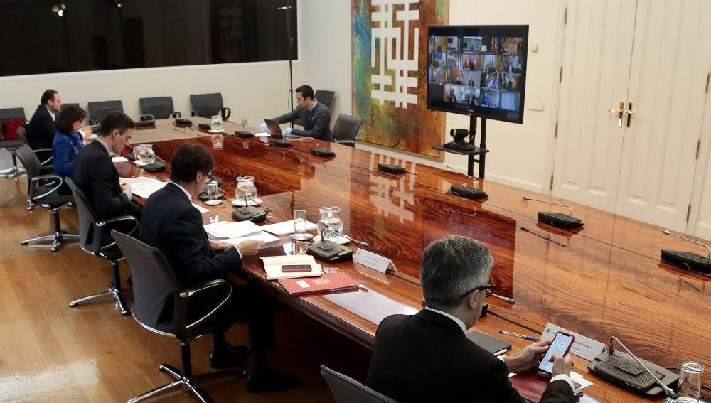 Imagen de la videoconferencia de Pedro Sánchez con los presidentes autonómicos celebrada este domingo