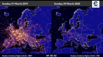 Las imágenes satelitales que muestran cómo han decrecido los vuelos en la Eurozona a causa del coronavirus.