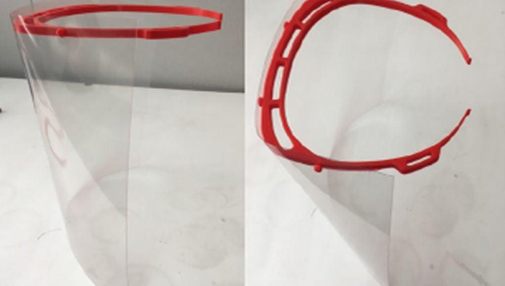 Pantallas de protección facial elaboradas con impresión 3D.