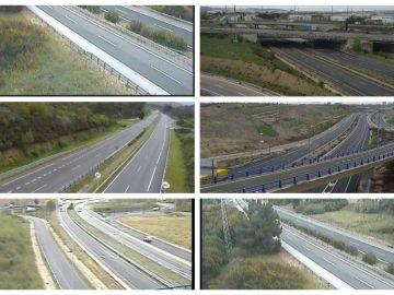 Collage de las carreteras en estado de alarma