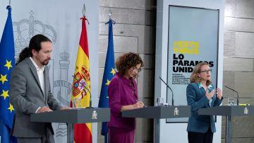 Iglesias, Montero y Calviño, tras el Consejo de Ministros