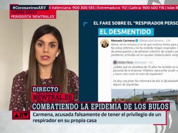 El tuit que afirma que Manuela Carmena ha recibido un respirador personal en su casa es falso