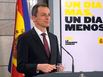 Pedro Duque, durante la comparecencia de prensa