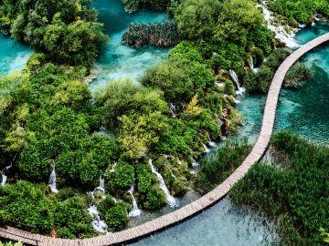 Detalle de los lagos Plitvice desde el aire