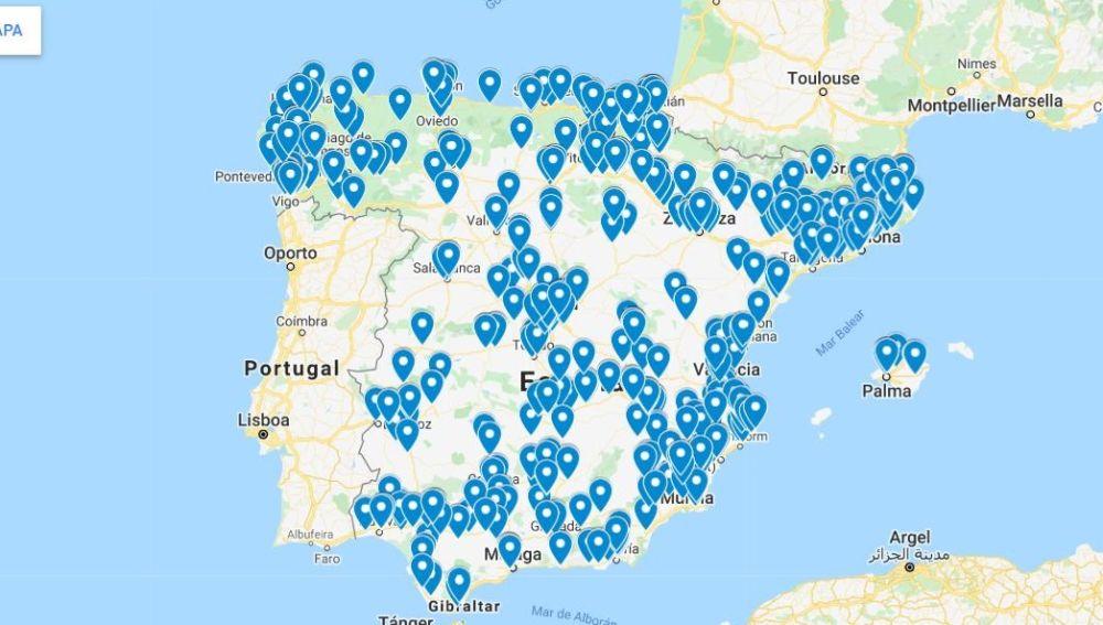 Mapa de talleres abiertos