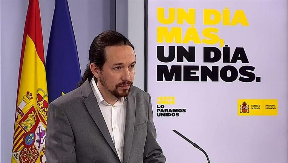 Pablo Iglesias, durante la rueda de prensa convocada este jueves en el Palacio de la Moncloa