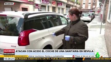 Destrozan con ácido el coche de una sanitaria de Sevilla