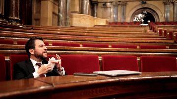 El vicepresident del Govern, Pere Aragonès, en el debate de los Presupuestos catalanes
