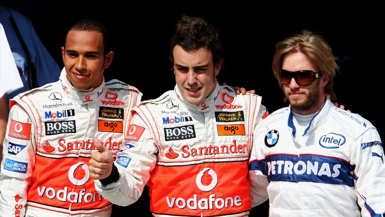 Lewis Hamilton, Fernando Alonso y Nick Heidfeld